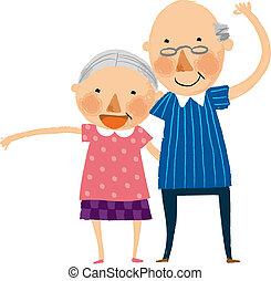 pareja, viejo, vista