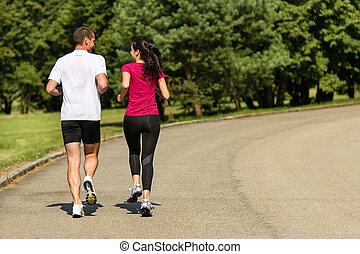 pareja, vista, jogging, trasero, caucásico