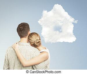 pareja, y, nube, casa