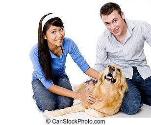 pareja, y, su, perro