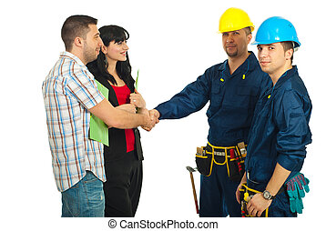 pareja, y, trabajadores, equipo, acuerdo