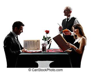 parejas, amantes, fechando, cena, siluetas