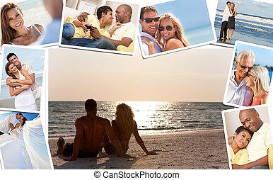 parejas, amor, romántico, montaje, romance, interracial