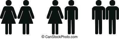 parejas, diferente, silueta