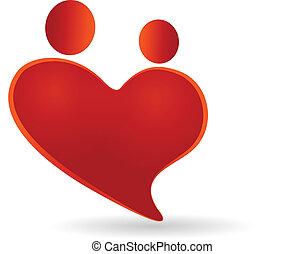 parejas, en, un, corazón, símbolo, icono, vector, logotipo
