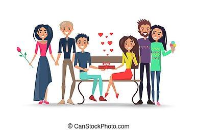 parejas felices, alrededor, banco, aislado, ilustración