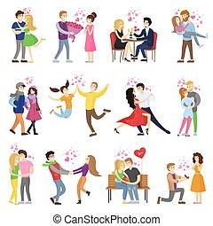 parejas felices, enamorado, rodeado, con, pequeño, corazones