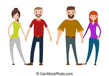 parejas felices, hombre y mujer, vector, aislado, conjunto