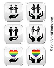 parejas,  FL, lesbiana, alegre, arco irirs