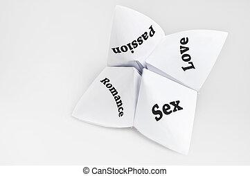 parejas, necesidades, en, caja de la fortuna