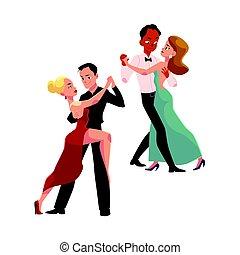 parejas, profesional, mirar, uno al otro, bailando, bailarínes de salón
