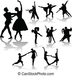 parejas, recoger, siluetas, bailando
