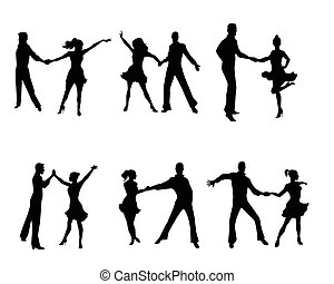 parejas, seis, bailando