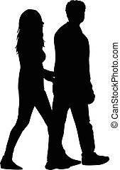parejas, siluetas, -, gente