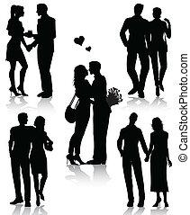 parejas, siluetas, romántico