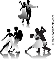 parejas, tres, tango, bailando