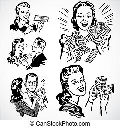 parejas, vendimia, vector, dinero