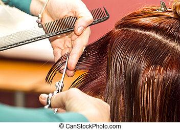 parekmaher makes a haircut in the salon
