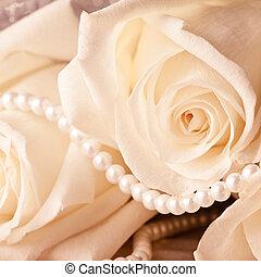 parel, kralen, en, room, roos