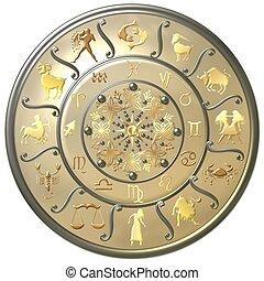 parel, zodiac, schijf, met, tekens & borden, en, symbolen