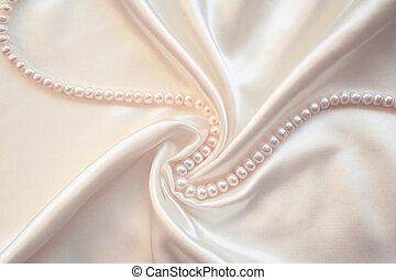 parels, glad, elegant, achtergrond, trouwfeest, witte , zijde