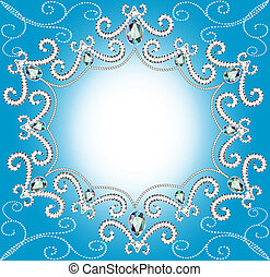 parels, ornament, verdraaid, rand, achtergrond, zilver