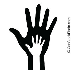parent and baby hand, vector illustration