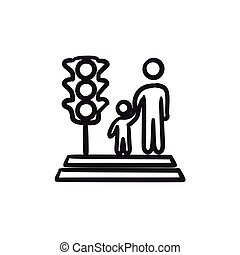 Parent and child crossing the street sketch icon.