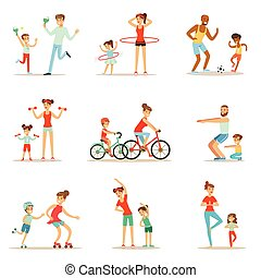 Parent And Child Doing Sportive Exercises And Sport Training...