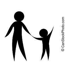 Parent and child holding hands together. Symbolic vector...