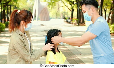 parent and child wear face mask during coronavirus and flu