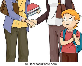 Parent and Teacher Meeting - Illustration Featuring a Mother...