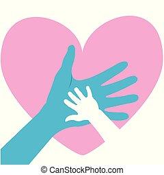 parent., atya, köszönés, kéz, atya nap, gyermek, vagy, kártya, boldog
