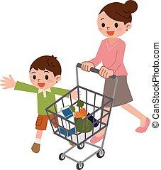 parent-child, időz, bevásárlás
