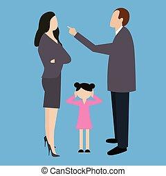 parent couple fight argue arguing in front child