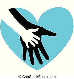parent., far, hils, hånd, far dag, barn, eller, card, glade