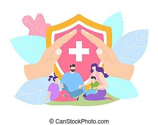 parent, hospital., protection, clinique, concept, protégé, famille, vecteur, enfants, illustration., assurance-vie, santé