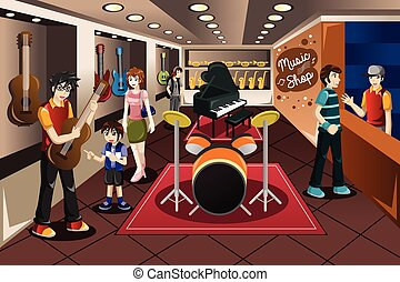 A vector illustration of parents with their kid buying musical instrument in a music store