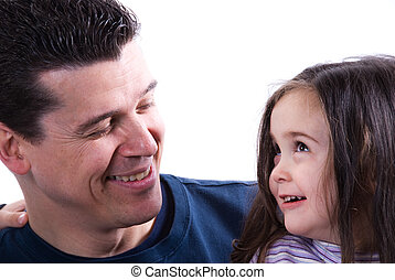 Parent Love - father and daughter love and kiss on white