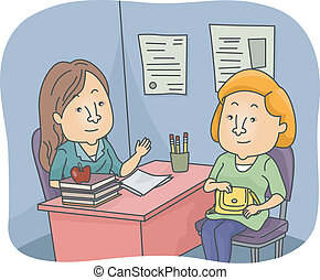 Parent Teacher Talk - Illustration of a Parent and a Teacher...