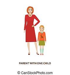 Parent with one child. Cartoon illustration