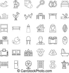 Parental control icons set, outline style