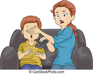 Parental Guidance - Illustration of a Mom Covering Her Son's...