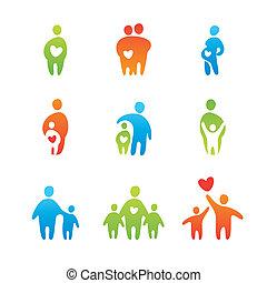 parental-love - set of icons - parental love