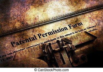 Parental permission form on vintage typewriter