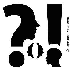 parentesi, domanda, esclamazione, insolito, marchio