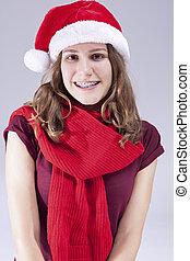 parenthèses, dentaire, concepts, adolescent, contre, ideas., white., santa, dents, chapeau, caucasien, traitement