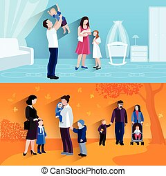 Parenthood 2 flat banners icomposition