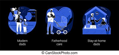 Parenthood abstract concept vector illustrations. Modern dads, fatherhood care, stay-at-home dads, happy kid family, fathers day, breadwinner mom, parental leave, domestic work dark mode metaphor.