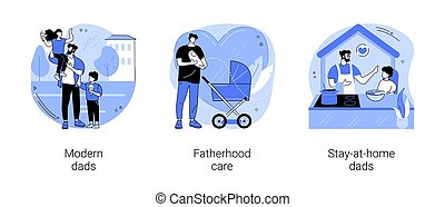 Parenthood abstract concept vector illustration set. Modern dads, fatherhood care, stay-at-home dads, happy kid family, fathers day, breadwinner mom, parental leave, domestic work abstract metaphor.
